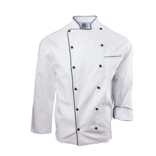 Chef Revival J044 Brigade Jacket, White w/ Black Piping
