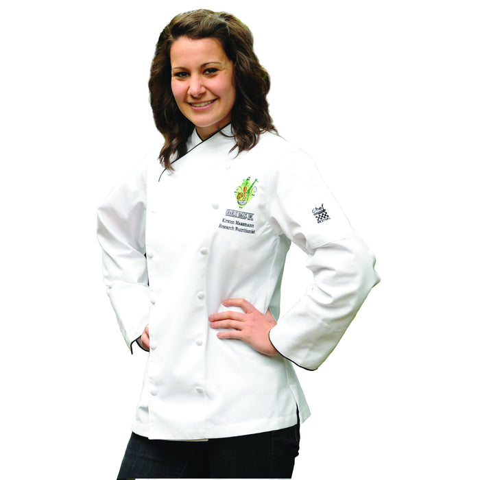 Chef Revival LJ008 Ladies Corporate Jacket, White w/ Black Piping