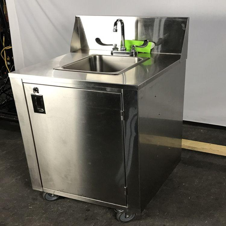 Crown CVPHS Portable Hand Sink Cabinet w/ Electric Pump, Small Water Heater, & Both Clean + Waste Water Tanks
