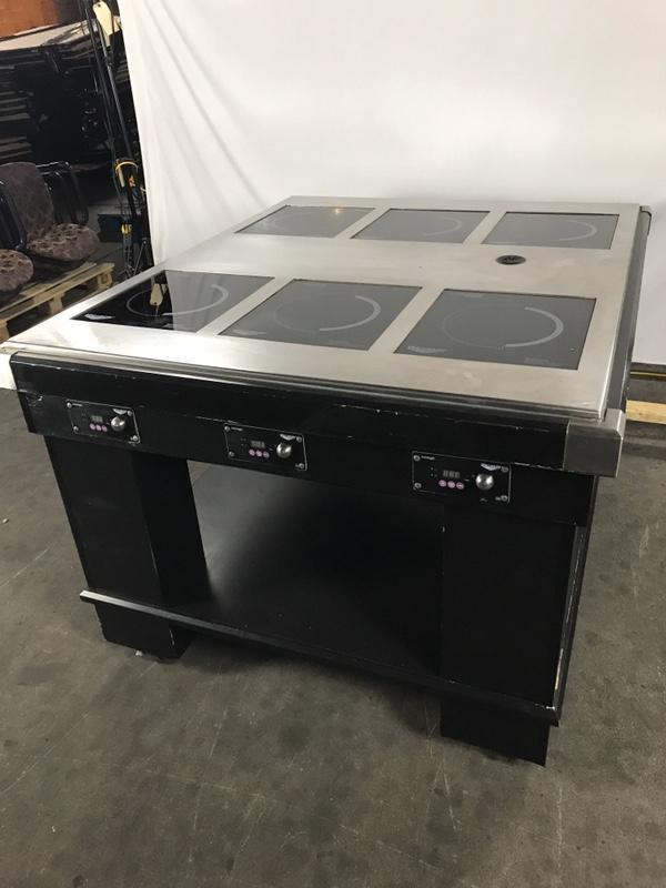 Custom Mobile Buffet Table w/ 6: Vollrath Mirage Induction Warmers Built in