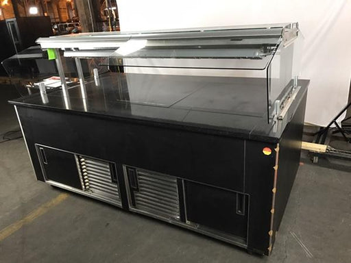 Waserstrom Custom Food Warming Self Serve Island Counter w/ Glass Sneeze Guards