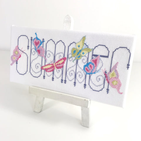 Cross stitch on artists easel