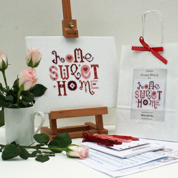 Red Home Sweet Home Cross Stitch - StitchKits Crafts