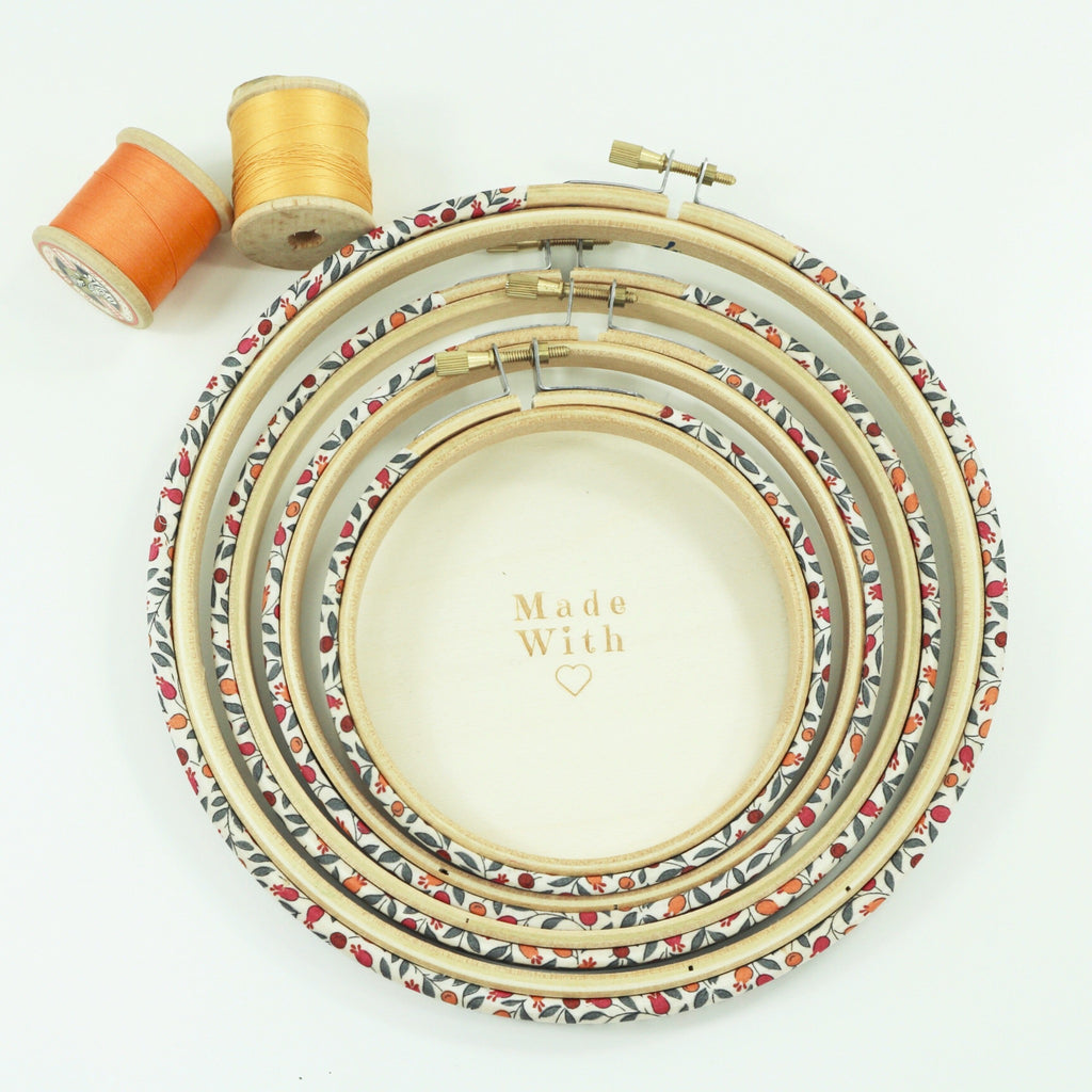 Embroidery hoops covered with Tana Lawn fabric