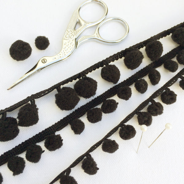Black Pom Pom Trim - StitchKits Crafts