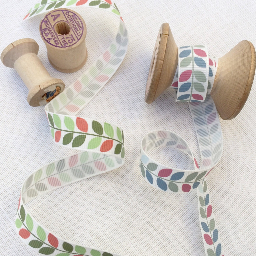 Modern Leaf  Grosgrain Ribbon - StitchKits Crafts