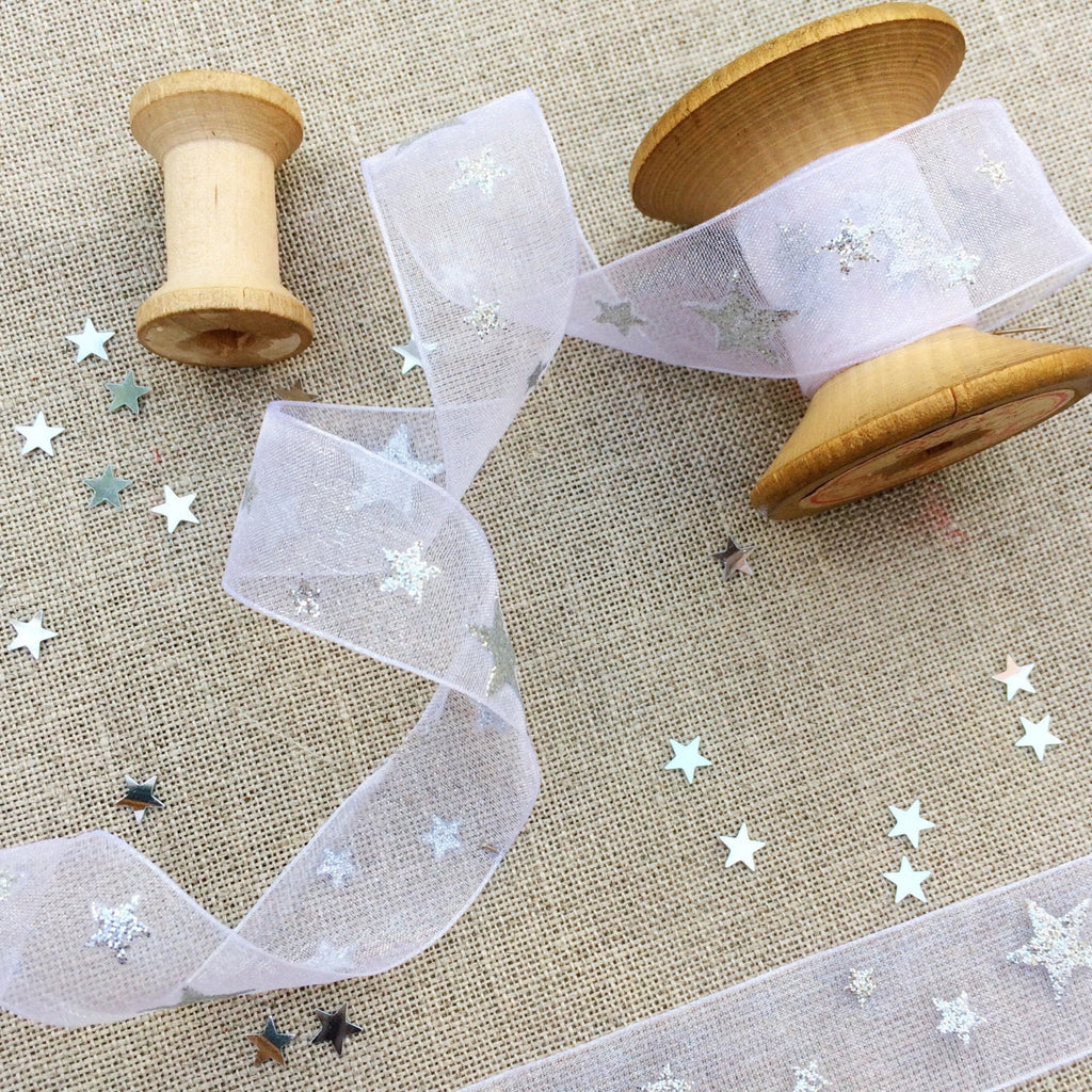 white organz ribbon with silver stars - StitchKits Crafts