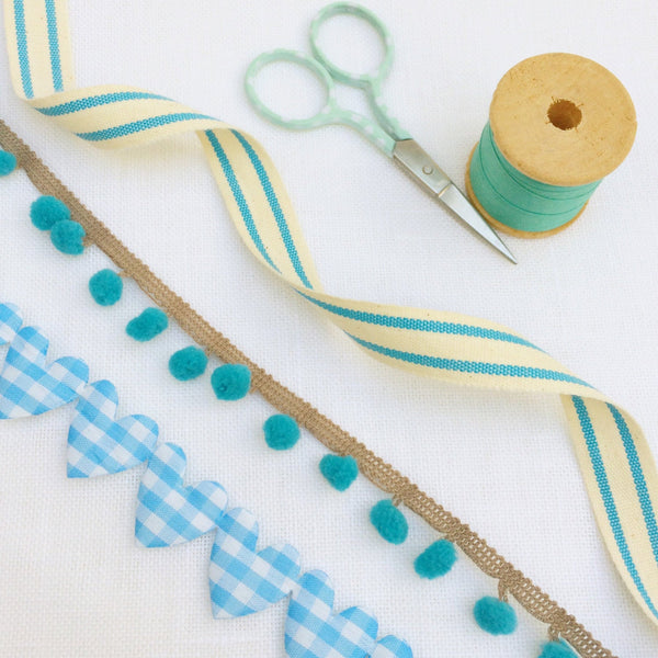 Baby Blue Hearts & Stripes Ribbon Collection - StitchKits Crafts