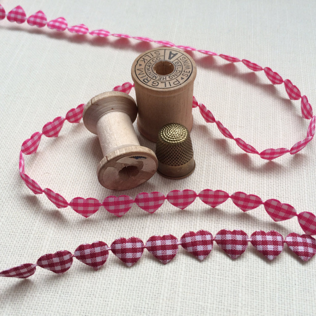 Gingham Heart Padded Cotton Heart Ribbon. - StitchKits Crafts