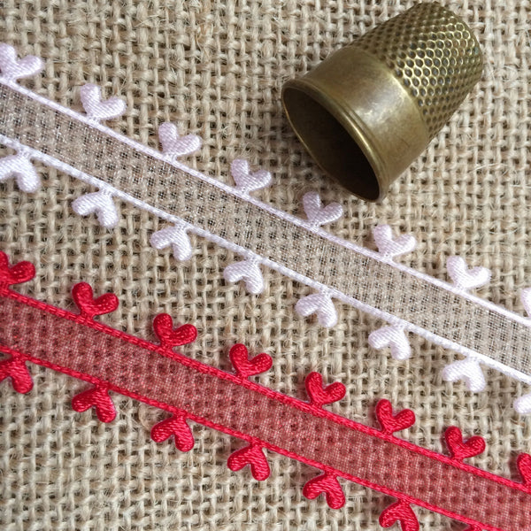 Sheer Ribbon with a Satin Love Heart Edge - StitchKits Crafts