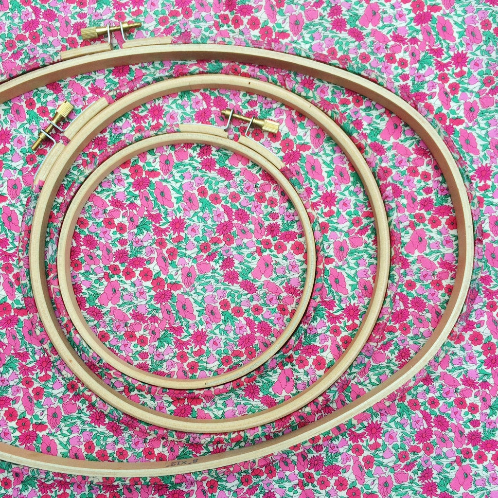 Pink 'Petal & Bud' Liberty Tana Lawn Fabric Wrapped Embroidery Hoops - StitchKits Crafts