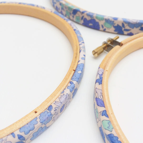 Blue 'D'Ajio' Liberty Fabric Tana Lawn covered Embroidery Hoops - StitchKits Crafts