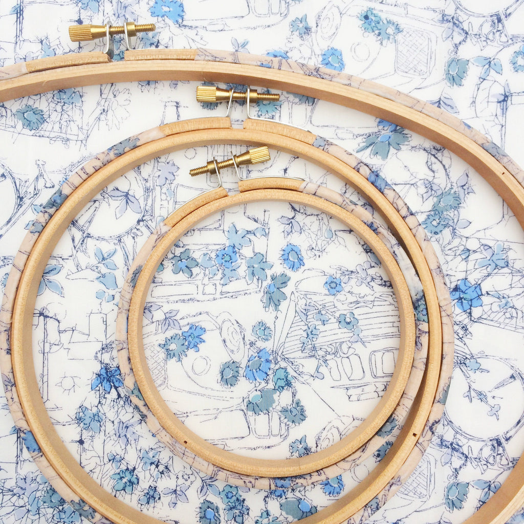 Blue 'Travelling Threads' Liberty Fabric Tana Lawn Covered Embroidery hoops - StitchKits Crafts