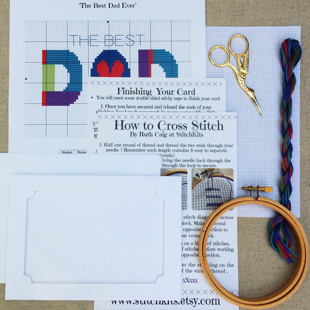 Fathers Day Cross Stitch Card Kit - StitchKits Crafts