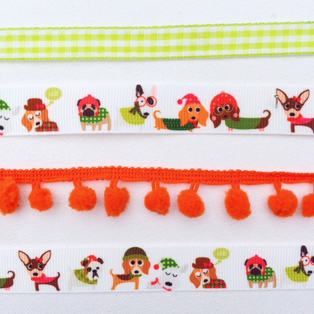Winter Ribbon Collection. Fall craft ribbon.Ribbon with Dogs on. Orange Pom Pom Trim. Fun Cristmas Ribbon. Holiday Ribbon. Dogs in Sweaters - StitchKits Crafts