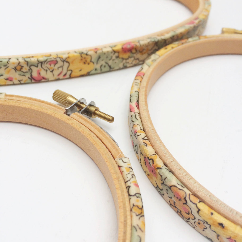 Yellow 'Claire Aude' Liberty Tana Lawn Fabric Wrapped Embroidery Hoops - StitchKits Crafts