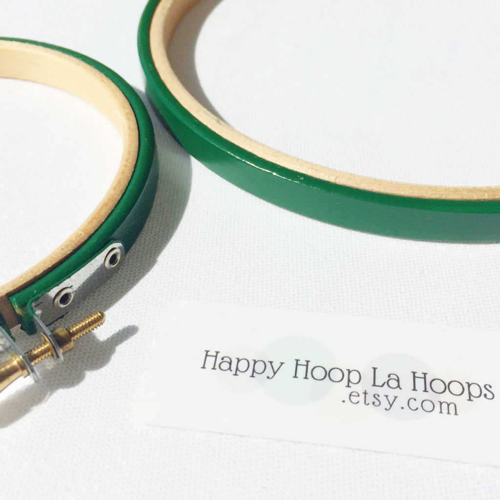 Jade Green Painted Embroidery hoops - StitchKits Crafts