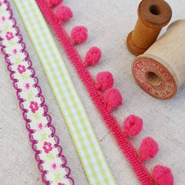 Pretty Flower Pink and Lime Ribbon Collection. - StitchKits Crafts