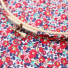 Red 'Betsy Ann' Liberty Fabric Tana Lawn Covered Embroidery Hoops - StitchKits Crafts