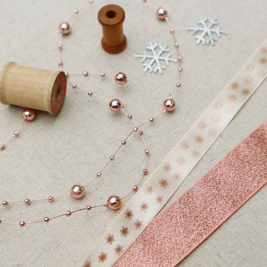 Rose Gold snowflake Ribbon Collection - StitchKits Crafts