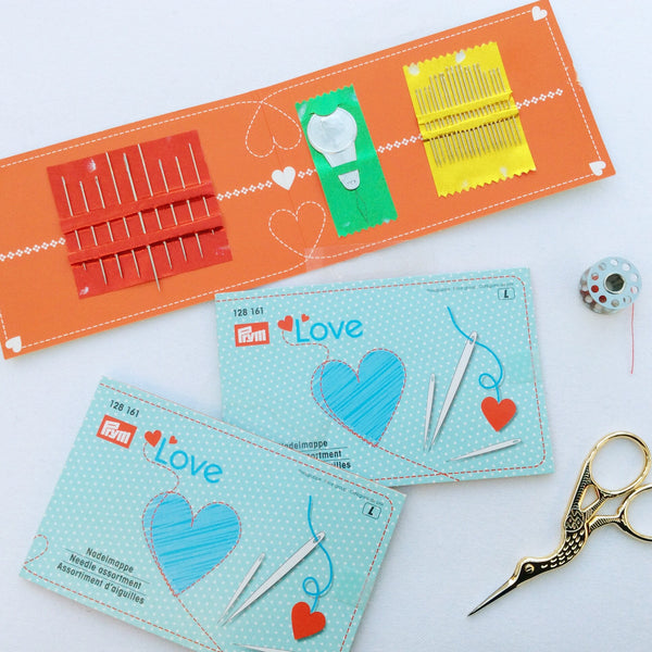Needles. Prtm Love, Assorted Hand Sewing Needles set with needle threader. 29 Assorted needles & threader in needle book. - StitchKits Crafts