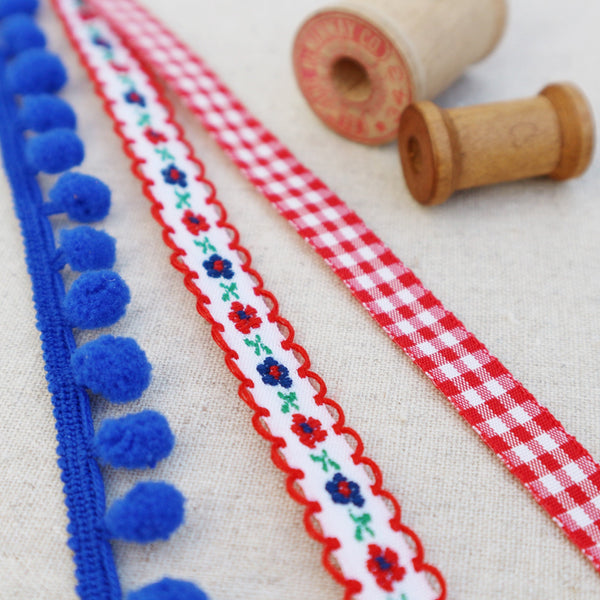Pretty Flower Red and Blue Ribbon Collection - StitchKits Crafts