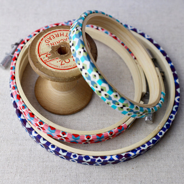 Turquoise 'Tempo' Liberty Fabric Tana Lawn Wrapped Embroidery Hoops - StitchKits Crafts