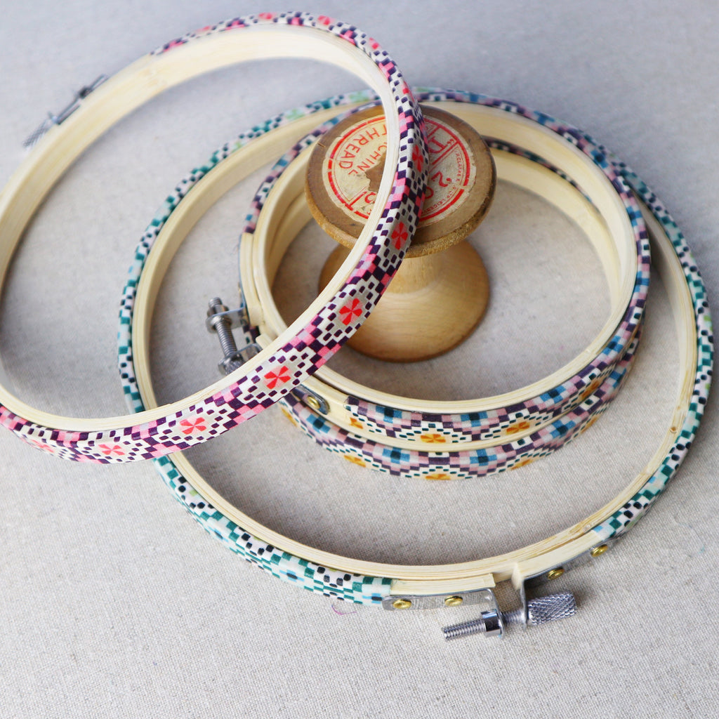 Purple 'Aida' Liberty Fabric Tana Lawn Covered Embroidery Hoops - StitchKits Crafts