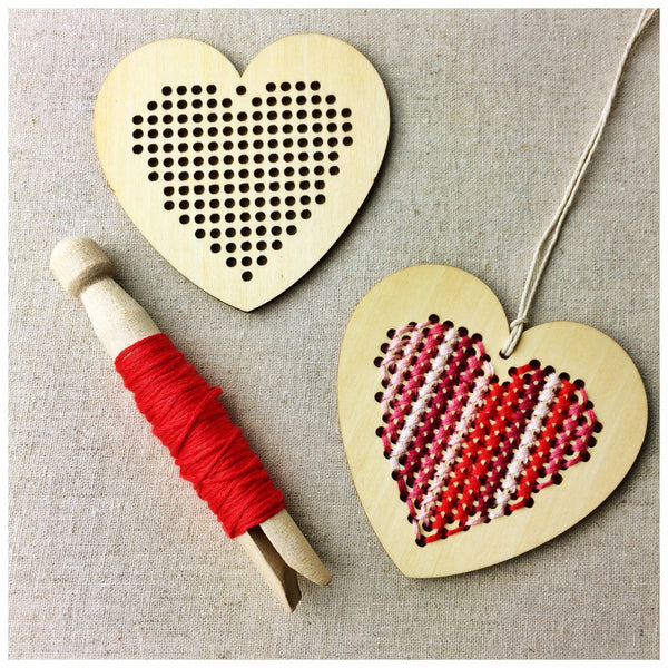 Wooden Heart Cross Stitch Blanks - StitchKits Crafts