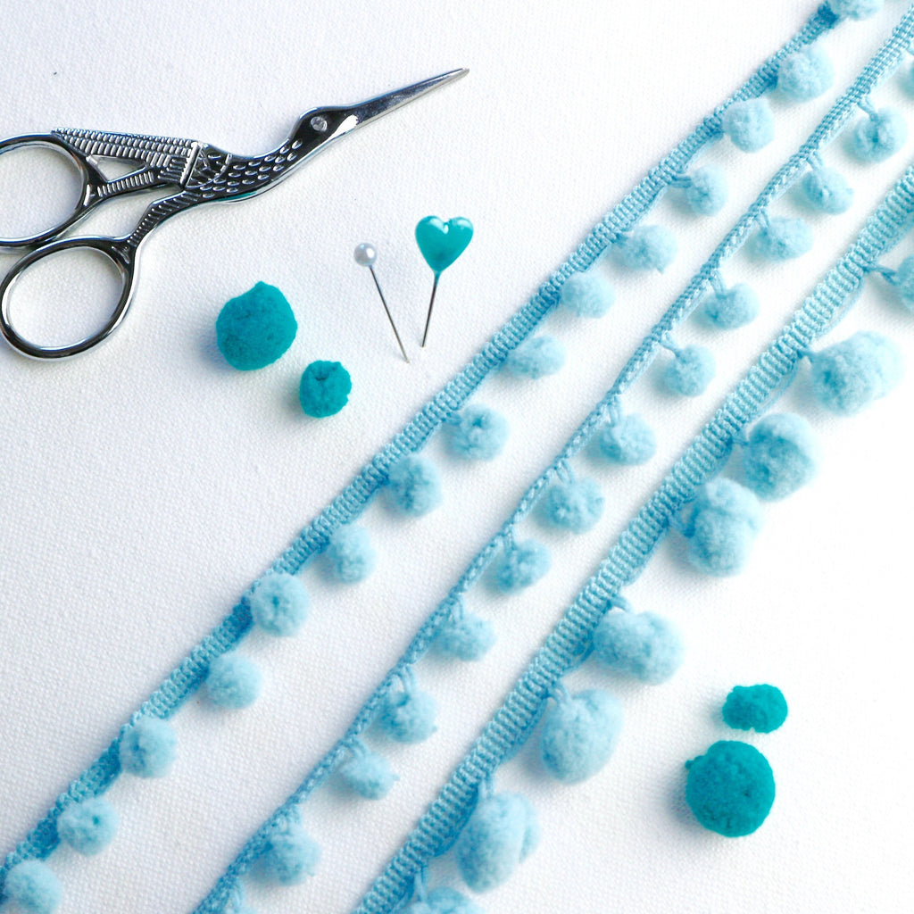 Pale Blue Pom Pom Trim - StitchKits Crafts