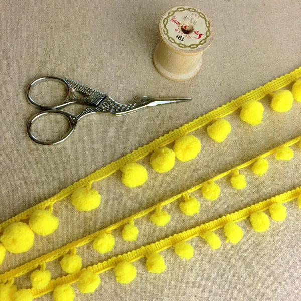 Yellow Pom Pom Trim - StitchKits Crafts