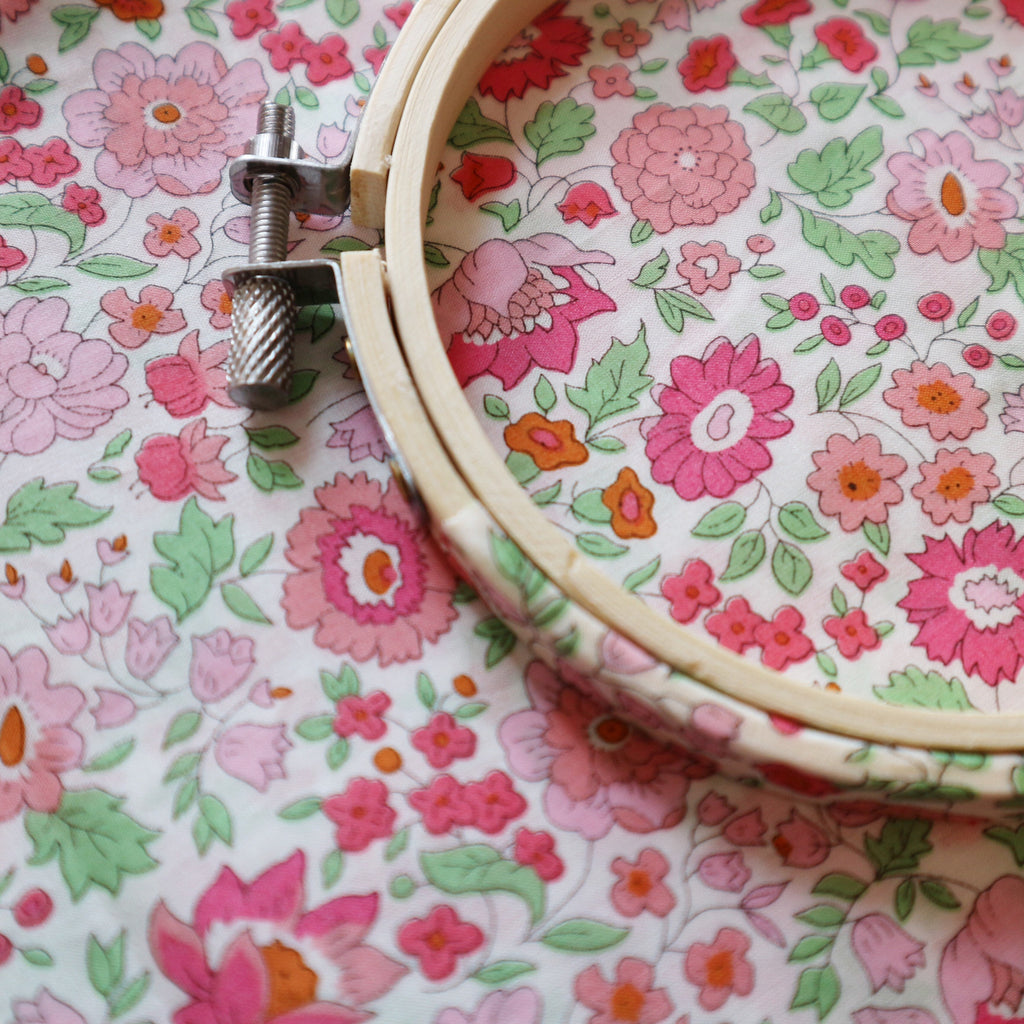 Pink 'D'Ajio' Liberty Tana Lawn 'Covered Embroidery Hoops - StitchKits Crafts
