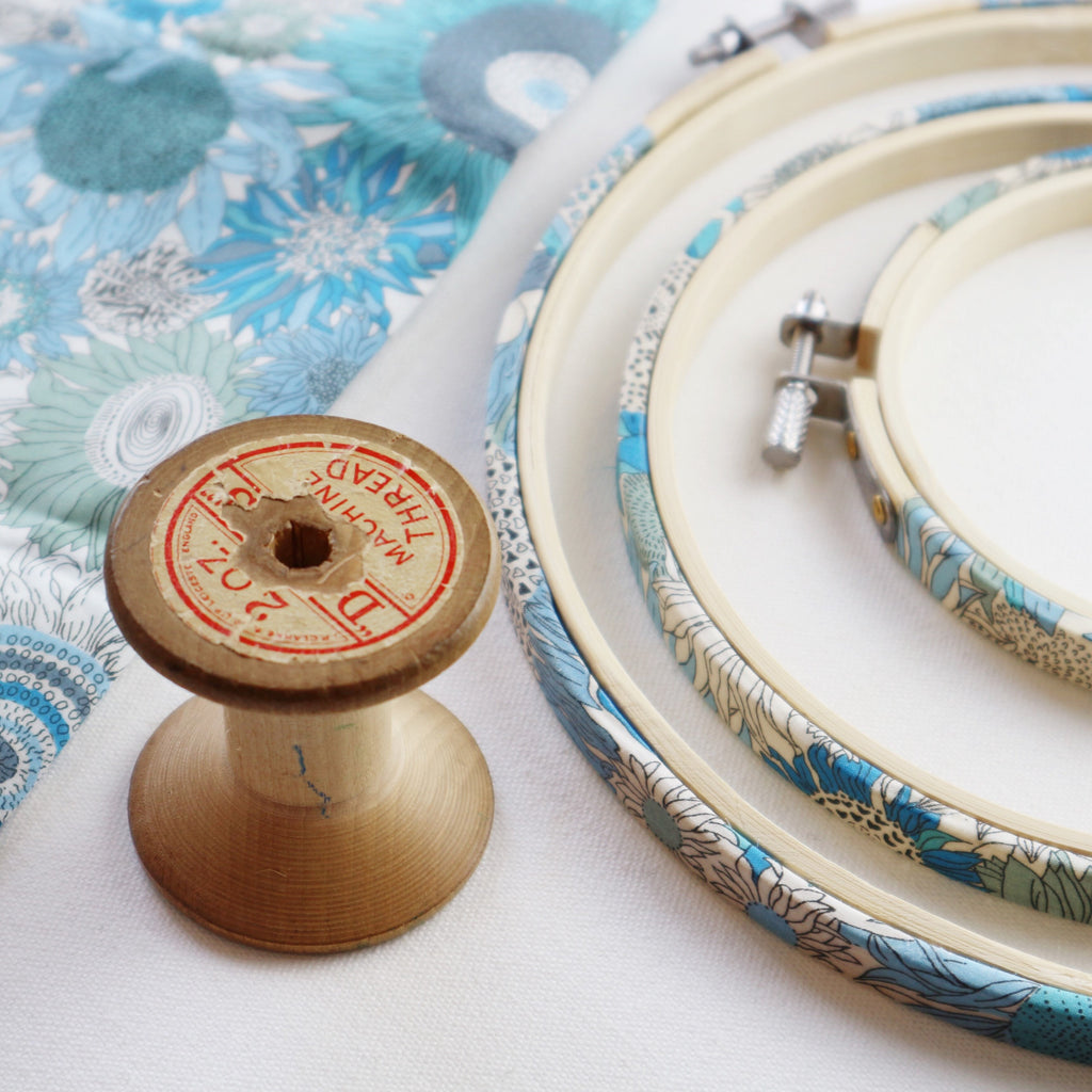 Blue 'Susanna' Liberty Fabric Tana Lawn Wrapped Embroidery Hoops - StitchKits Crafts