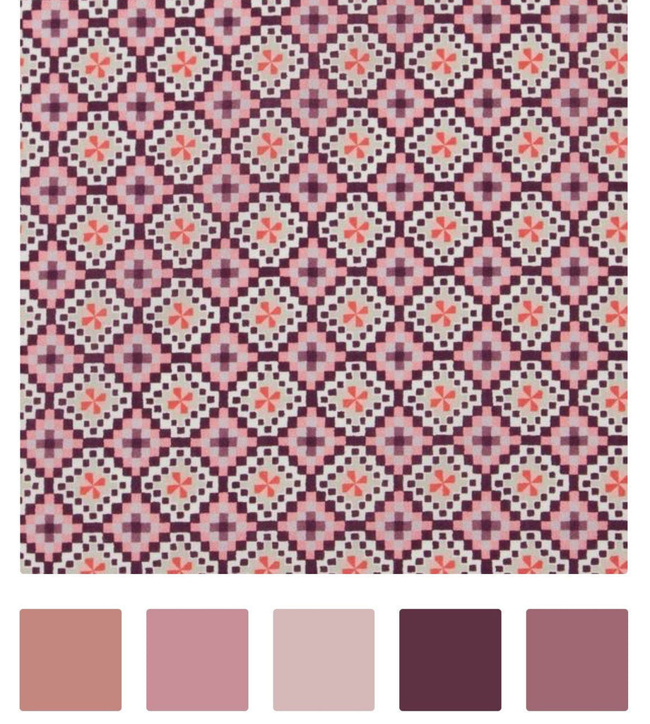 Maroon Purple 'Aida' Liberty Fabric Tana Lawn Covered Embroidery Hoops - StitchKits Crafts