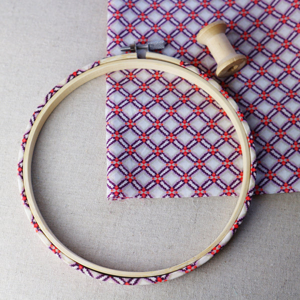 Purple 'Smoock' Liberty Fabric  Tana Lawn Covered Embroidery Hoops - StitchKits Crafts