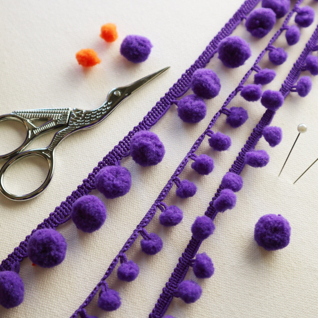 Royal Purple Pom Pom Trim. - StitchKits Crafts