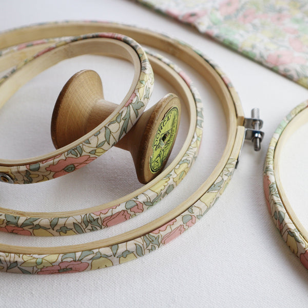 Vintage Pink 'Poppy & Daisy' Liberty Tana Lawn Embroidery Hoops - StitchKits Crafts