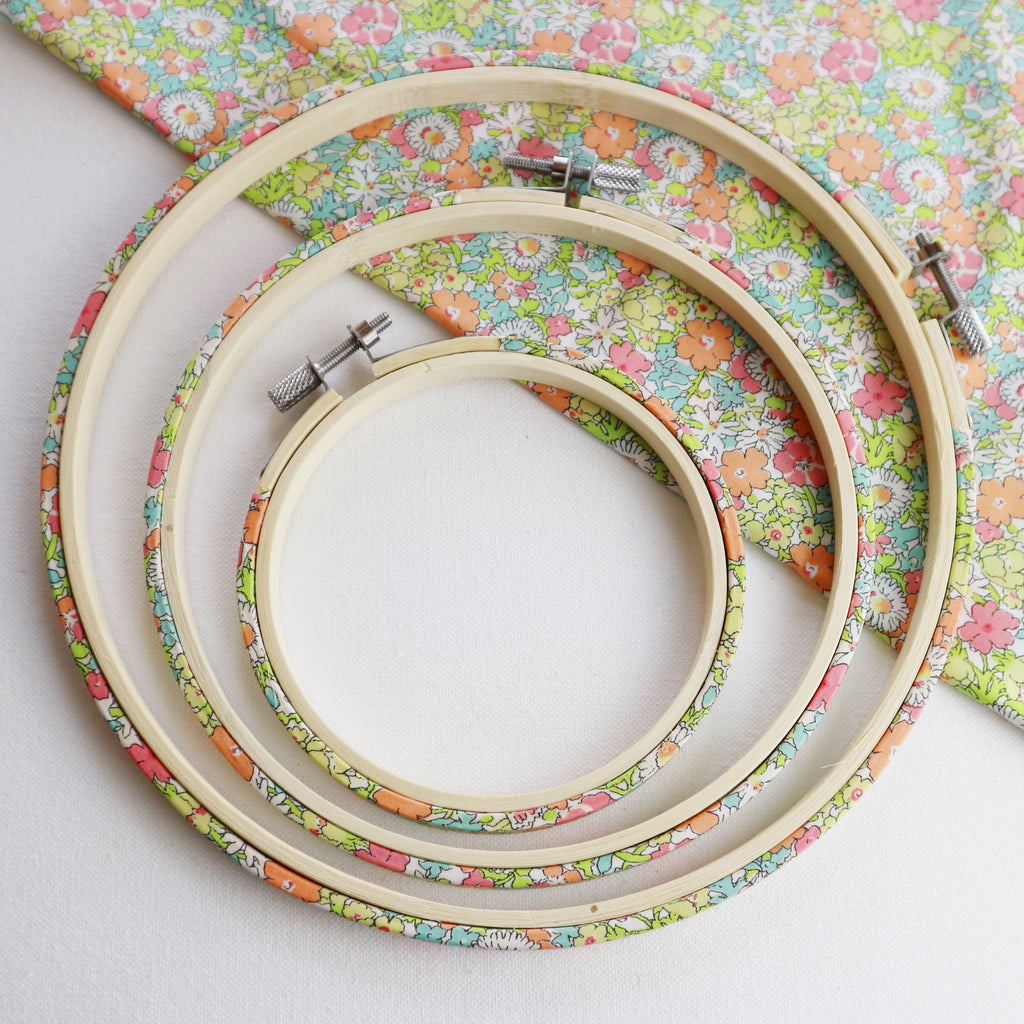 Bright Spring Floral Liberty Tana Lawn Fabric Wrapped Embroidery Hoops - StitchKits Crafts
