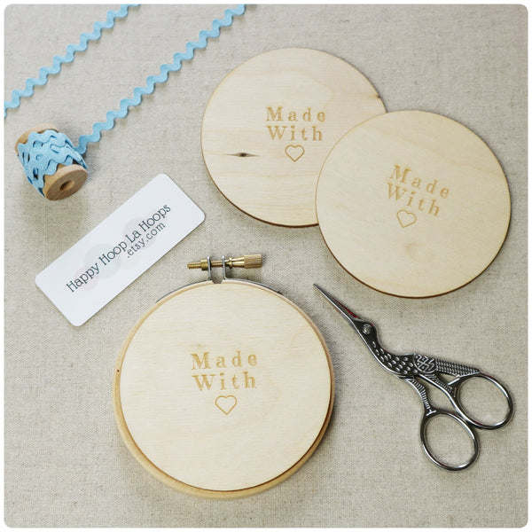 3 inch Wooden  Hoop Backs, set of three - StitchKits Crafts