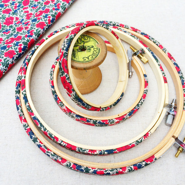 Red 'Rosalind B' Liberty Fabric Tana Lawn fabric covered Embroidery Hoops - StitchKits Crafts