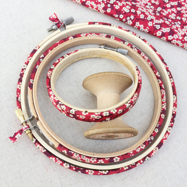 Red 'Mitsi D' Liberty Fabric Tana Lawn covered Embroidery Hoops - StitchKits Crafts
