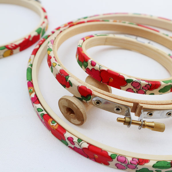 Red 'Betsy X' Liberty Fabric Tana Lawn Covered Embroidery hoops - StitchKits Crafts