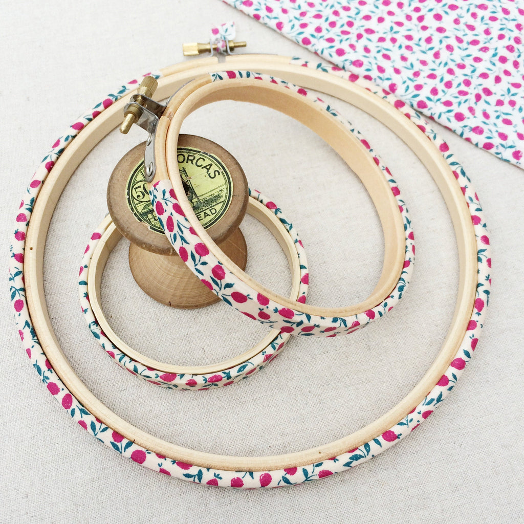 Magenta 'Ed B' Liberty Fabric Tana Lawn Wrapped Embroidery Hoops - StitchKits Crafts