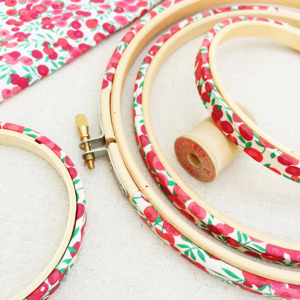 Red 'Christmas Wiltshire Berry' Liberty Tana Lawn Wrapped Embroidery Hoops - StitchKits Crafts