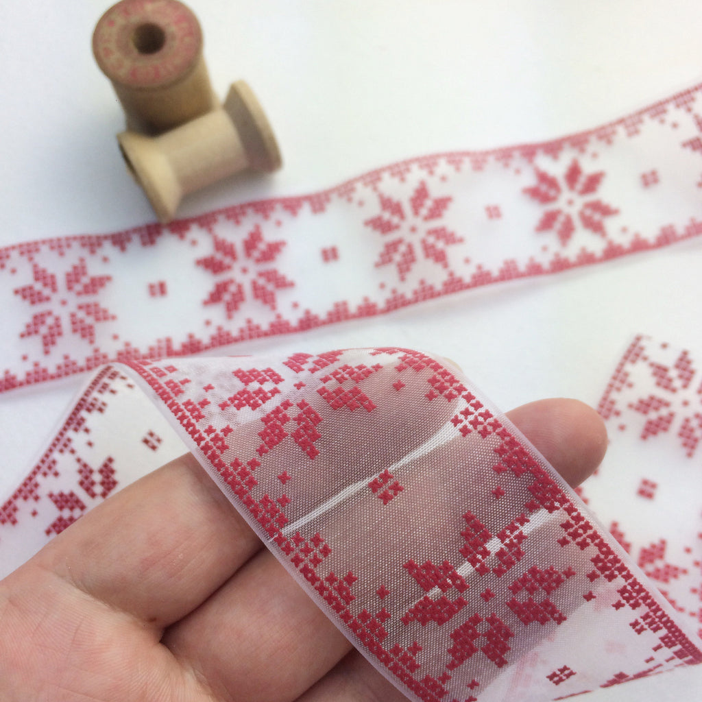 Sheer Red Scandinavian Snowflake Ribbon. - StitchKits Crafts