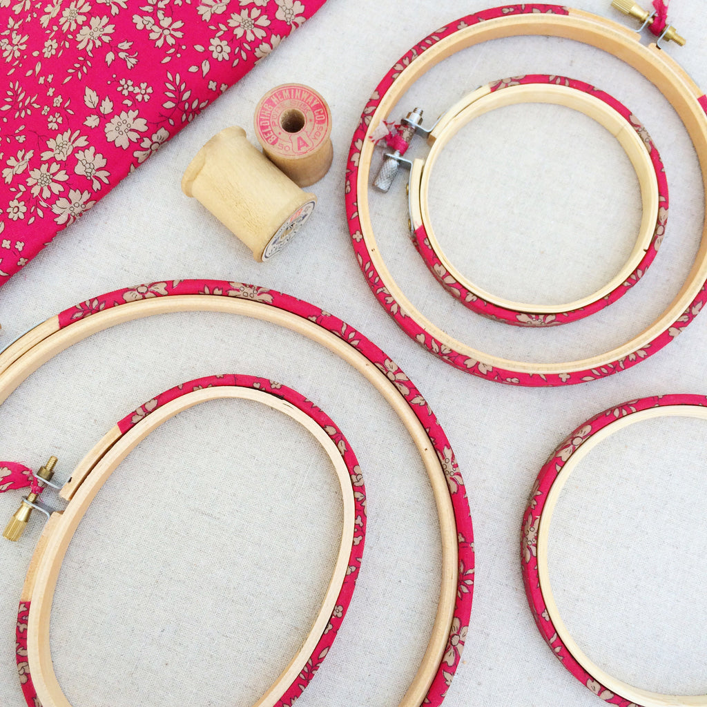 Red 'Capel' Liberty Fabric Tana Lawn Embroidery Hoops - StitchKits Crafts