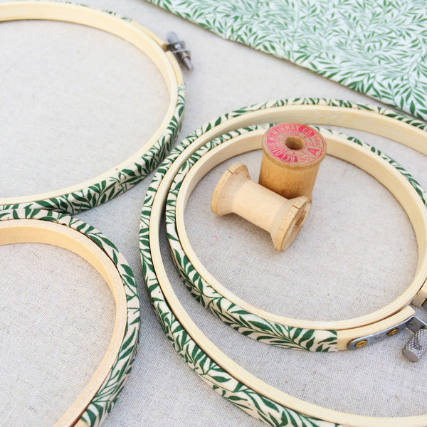 Green Willow Wood Liberty Fabric Tana Lawn Covered Embroidery Hoops - StitchKits Crafts