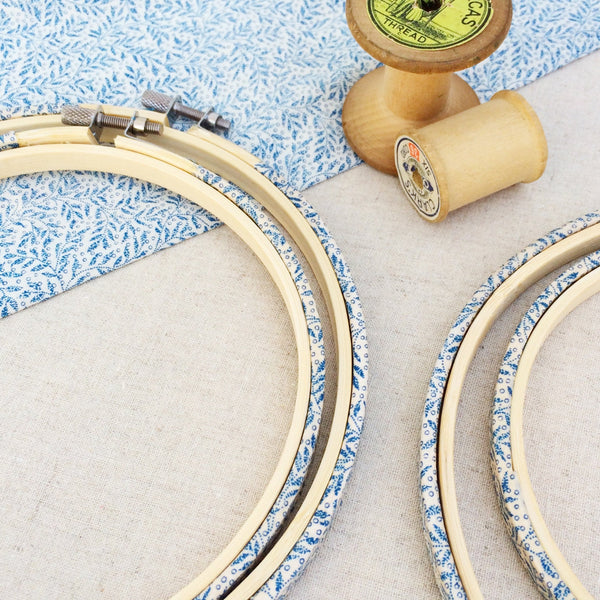 Blue Leaf Liberty Fabric Tana Lawn Wrapped Embroidery Hoops - StitchKits Crafts