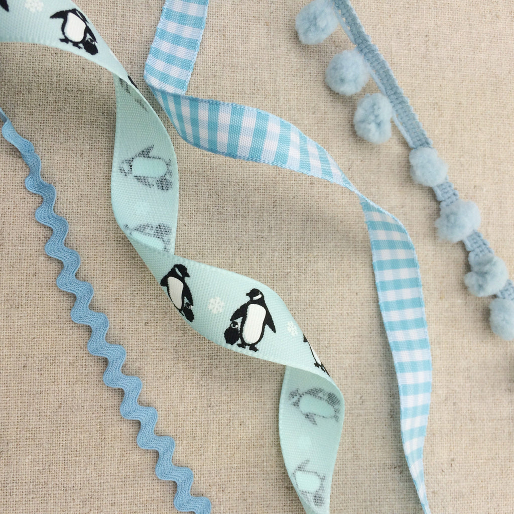 Ice Blue Penguin Ribbon Collection - StitchKits Crafts