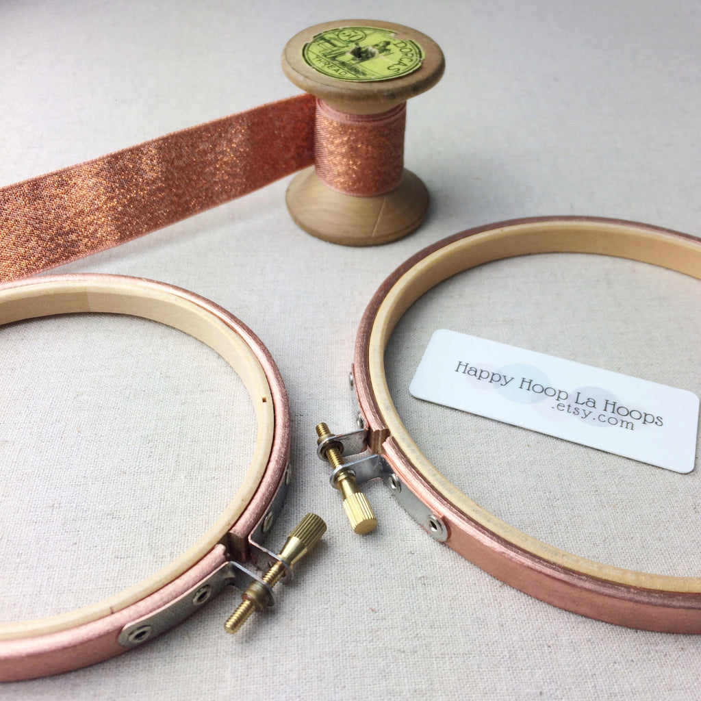 Metallic Bronze Painted Embroidery Hoop - StitchKits Crafts